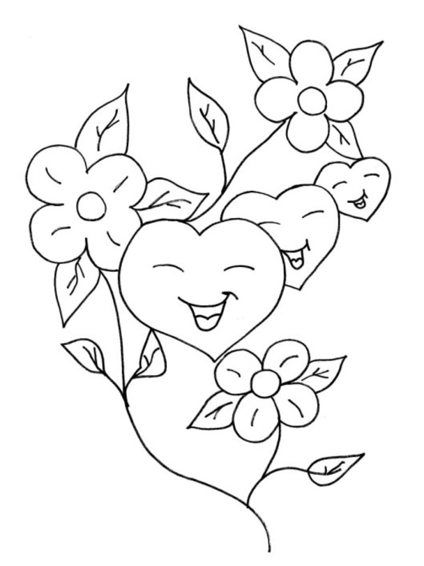 Free Hearts On Fire Coloring Pages